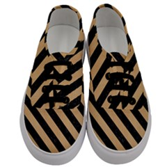 Stripes3 Black Marble & Natural White Birch Wood (r) Men s Classic Low Top Sneakers