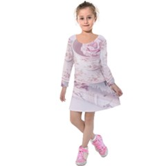 Shabby Chic High Tea Kids  Long Sleeve Velvet Dress by 8fugoso