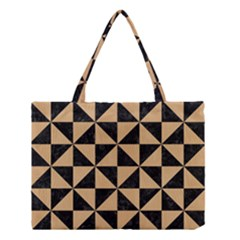 Triangle1 Black Marble & Natural White Birch Wood Medium Tote Bag by trendistuff