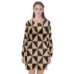 Triangle1 Black Marble & Natural White Birch Wood Long Sleeve Chiffon Shift Dress  by trendistuff