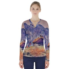 Impressionism V Neck Long Sleeve Top by 8fugoso