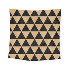 Triangle3 Black Marble & Natural White Birch Wood Square Tapestry (small) by trendistuff
