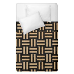 Woven1 Black Marble & Natural White Birch Wood Duvet Cover Double Side (single Size) by trendistuff
