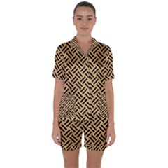 Woven2 Black Marble & Natural White Birch Wood (r) Satin Short Sleeve Pyjamas Set by trendistuff
