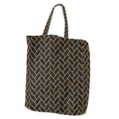 Brick2 Black Marble & Orange Colored Pencil Giant Grocery Zipper Tote by trendistuff
