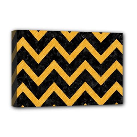 Chevron9 Black Marble & Orange Colored Pencil Deluxe Canvas 18  X 12   by trendistuff