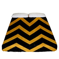 Chevron9 Black Marble & Orange Colored Pencil Fitted Sheet (queen Size)