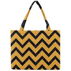 Chevron9 Black Marble & Orange Colored Pencil (r) Mini Tote Bag by trendistuff