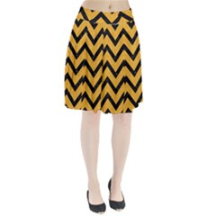 Chevron9 Black Marble & Orange Colored Pencil (r) Pleated Skirt