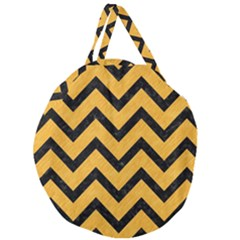 Chevron9 Black Marble & Orange Colored Pencil (r) Giant Round Zipper Tote