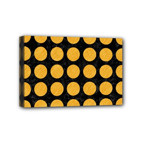 Circles1 Black Marble & Orange Colored Pencil Mini Canvas 6  X 4