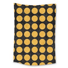 Circles1 Black Marble & Orange Colored Pencil Large Tapestry by trendistuff