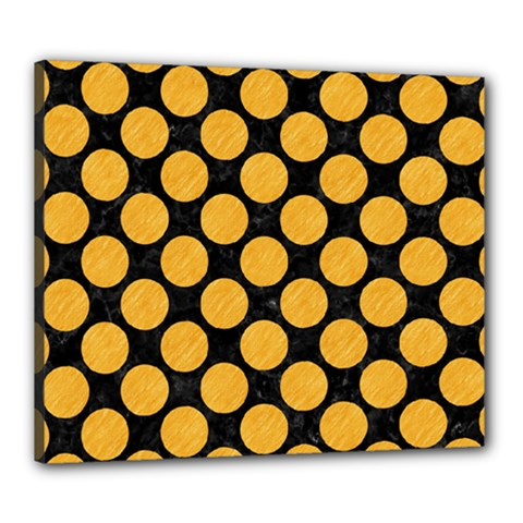 Circles2 Black Marble & Orange Colored Pencil Canvas 24  X 20  by trendistuff