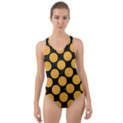 Circles2 Black Marble & Orange Colored Pencil Cut Out Back One Piece Swimsuit