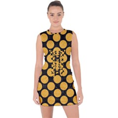 Circles2 Black Marble & Orange Colored Pencil Lace Up Front Bodycon Dress