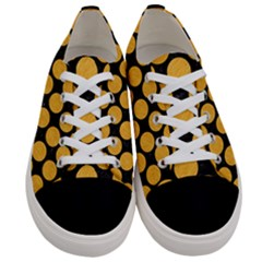 Circles2 Black Marble & Orange Colored Pencil Women s Low Top Canvas Sneakers