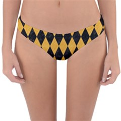 Diamond1 Black Marble & Orange Colored Pencil Reversible Hipster Bikini Bottoms