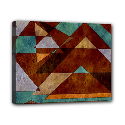 Turquoise And Bronze Triangle Design With Copper Canvas 10  X 8  by digitaldivadesigns