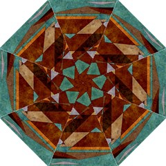Turquoise And Bronze Triangle Design With Copper Straight Umbrellas by digitaldivadesigns