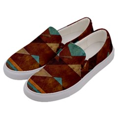 Turquoise And Bronze Triangle Design With Copper Men s Canvas Slip Ons by digitaldivadesigns