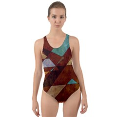 Turquoise And Bronze Triangle Design With Copper Cut-out Back One Piece Swimsuit