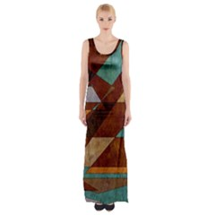 Turquoise And Bronze Triangle Design With Copper Maxi Thigh Split Dress by digitaldivadesigns