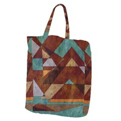 Turquoise And Bronze Triangle Design With Copper Giant Grocery Zipper Tote by digitaldivadesigns