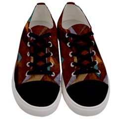 Turquoise And Bronze Triangle Design With Copper Men s Low Top Canvas Sneakers