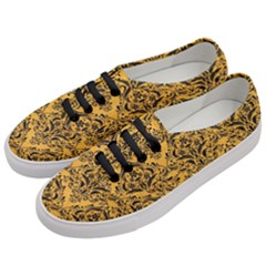 Damask1 Black Marble & Orange Colored Pencil (r) Women s Classic Low Top Sneakers by trendistuff