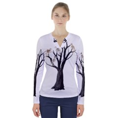 Dead Tree  V Neck Long Sleeve Top