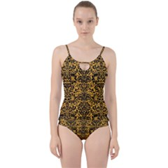 Damask2 Black Marble & Orange Colored Pencil (r) Cut Out Top Tankini Set