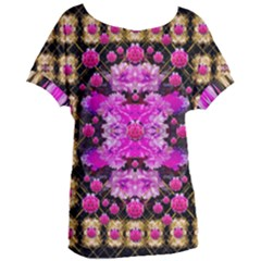 Flowers And Gold In Fauna Decorative Style Women s Oversized Tee