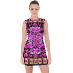 Flowers And Gold In Fauna Decorative Style Lace Up Front Bodycon Dress