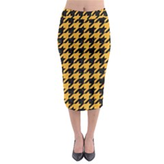 Houndstooth1 Black Marble & Orange Colored Pencil Midi Pencil Skirt by trendistuff
