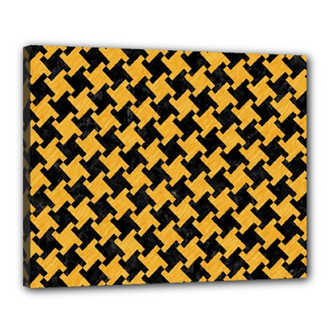 Houndstooth2 Black Marble & Orange Colored Pencil Canvas 20  X 16  by trendistuff
