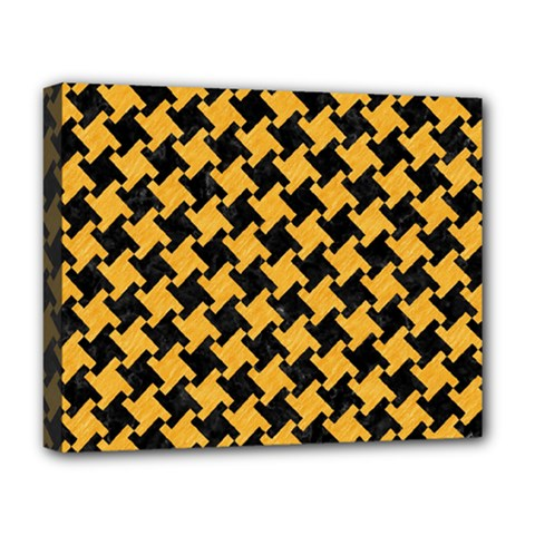 Houndstooth2 Black Marble & Orange Colored Pencil Deluxe Canvas 20  X 16   by trendistuff