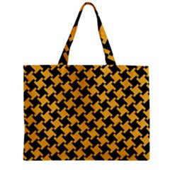 Houndstooth2 Black Marble & Orange Colored Pencil Zipper Mini Tote Bag by trendistuff