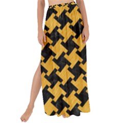 Houndstooth2 Black Marble & Orange Colored Pencil Maxi Chiffon Tie Up Sarong