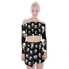 Dracula Off Shoulder Top With Mini Skirt Set