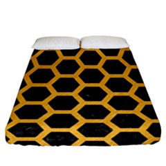 Hexagon2 Black Marble & Orange Colored Pencil Fitted Sheet (california King Size) by trendistuff
