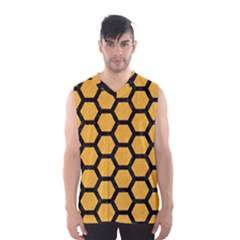 Hexagon2 Black Marble & Orange Colored Pencil (r) Men s Basketball Tank Top by trendistuff