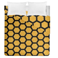 Hexagon2 Black Marble & Orange Colored Pencil (r) Duvet Cover Double Side (queen Size) by trendistuff