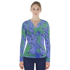 Fantasy Dungeon Maps 5 V Neck Long Sleeve Top