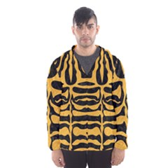 Skin2 Black Marble & Orange Colored Pencil Hooded Wind Breaker (men)