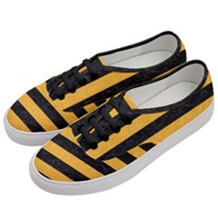 Stripes2 Black Marble & Orange Colored Pencil Women s Classic Low Top Sneakers by trendistuff