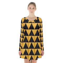 Triangle2 Black Marble & Orange Colored Pencil Long Sleeve Velvet V Neck Dress
