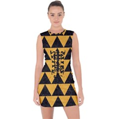 Triangle2 Black Marble & Orange Colored Pencil Lace Up Front Bodycon Dress