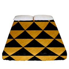 Triangle3 Black Marble & Orange Colored Pencil Fitted Sheet (king Size) by trendistuff