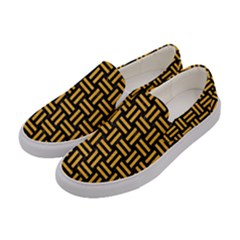 Woven1 Black Marble & Orange Colored Pencil Women s Canvas Slip Ons by trendistuff