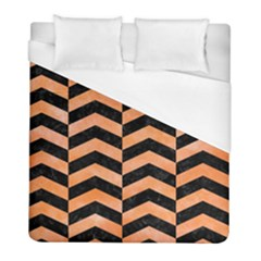 Chevron2 Black Marble & Orange Watercolor Duvet Cover (full/ Double Size) by trendistuff